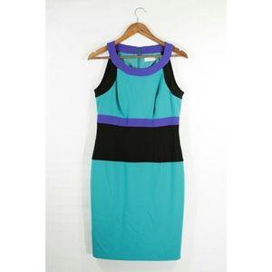 Size 12  Calvin Klein Green Color Block Dress